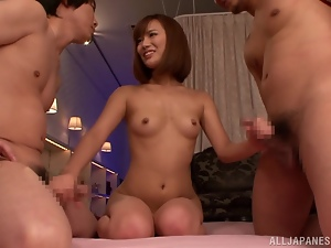 Asian, Double penetration, Handjob, Hardcore, Japanese, Mmf, Natural boobs, Penetrating, Redheads, Threesome