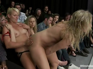 Blondes, Catfight, Horny, Licking, Public, Pussy, Sex toys, Sport, Strapon
