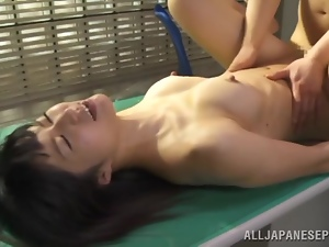 Asian, Desk, Fucking, Hardcore, Japanese, Missionary, Natural boobs, Office, Slut