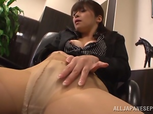 Asian, Brunettes, Cute, Japanese, Masturbating, Milf, Nylon, Office, Pussy