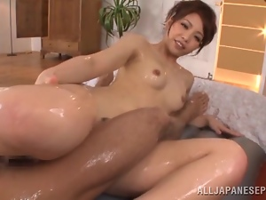 Asian, Couple, Dick, Hardcore, Japanese, Natural boobs, Oiled, Pov, Riding, Slim