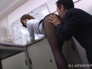 Angel, Asian, Booty, Brunettes, Couple, Hardcore, Japanese, Nylon, Office, Pantyhose, Teacher