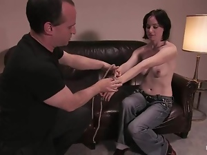 Babes, Bondage, Bound, Brunettes, Casting, Couple, Hardcore, Horny, Jeans, Natural boobs, Reality
