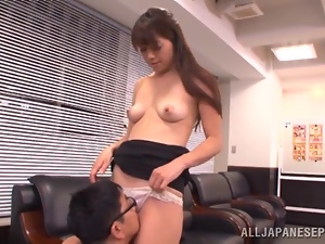 Asian, Couple, Dick, Face, Hardcore, Japanese, Licking, Long hair, Natural boobs, Office