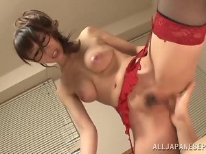 Asian, Big tits, Couple, Fake tits, Fingering, Fucking, Glasses, Hardcore, Japanese, Lingerie, Milf, Nylon, Snatch, Stockings
