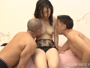 Asian, Brunettes, Dick, Hardcore, Japanese, Mmf, Natural boobs, Panties, Threesome