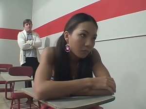 Asian, Brunettes, Couple, Fucking, Hardcore, Interracial, Long hair, Pigtail, Reality, Teacher
