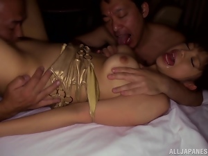 Asian, Fucking, Hardcore, Horny, Japanese, Licking, Mmf, Natural boobs, Orgasm, Rough, Threesome