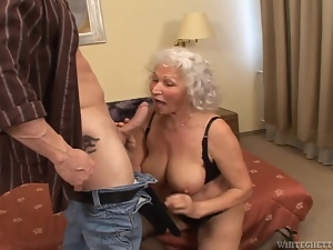 Big tits, Blondes, Blowjob, Bra, Couple, Dick, Grandma, Granny, Handjob, Hardcore, Huge, Mouthful, Natural boobs, Old and young