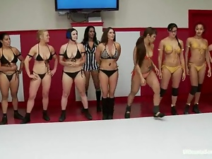 Big tits, Bikini, Blondes, Brunettes, Catfight, Cunt, Lesbian, Licking, Long hair, Reality, Sexy, Sport, Wrestling