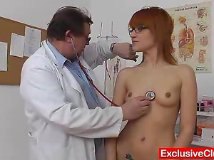 Babes, Clinic, Couple, Glasses, Gyno exam, Natural boobs, Reality, Redheads, Skinny, Uniform