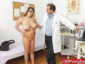 Glasses, Hairy, Mature, Milf, Natural boobs, Plumper, Pussy, Reality, Tits, Uniform