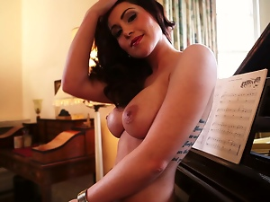 Big tits, Brunettes, Busty, Cougar, Erotic, Fake tits, Glamour, Long hair, Milf, Nude, Piano, Posing, Tattoo