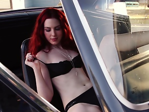 Babes, Beautiful, Bra, Car, Glamour, Lingerie, Long hair, Outdoor, Panties, Posing, Redheads