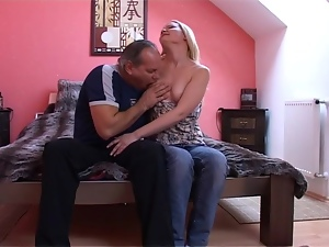 Babes, Blondes, Chick, Couple, Friend, Hardcore, Jeans, Long hair, Natural boobs, Old, Old and young, Riding