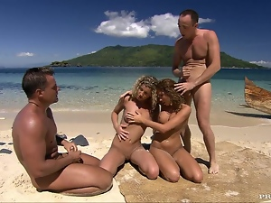 4some, Babes, Beach, Group sex, Hardcore, Natural boobs, Outdoor, Swingers