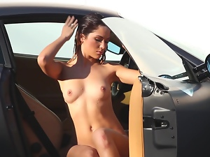 Babes, Beautiful, Brunettes, Car, Glamour, Long hair, Natural boobs, Outdoor