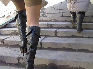 Asian, Black, Boots, Leather, Russian, Stockings, Upskirt, Voyeur