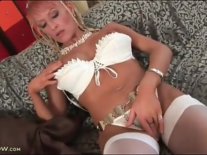 Fake tits, Fondling, Licking, Masturbating, Milf, Stockings, Tits