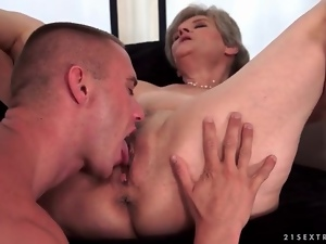 Fucking, Granny, Hardcore, Licking, On top, Pussy, Young