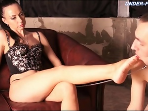 Beautiful, Feet, Foot fetish, Licking, Lingerie, Mistress, Sucking