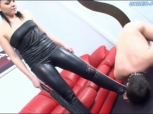 Chick, Femdom, Leashed, Leather, Licking, Submissive
