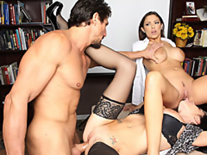 Big cock, Group sex, Hardcore, Office, Threesome