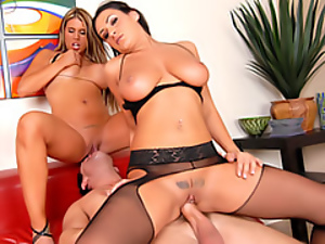 Blondes, Breast, Brunettes, Busty, Dick, Face, Group sex, Hardcore, Riding, Slut, Threesome, Tits