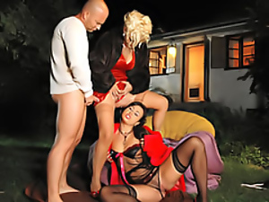 Clothed sex, Dress, Funny, Group sex, Peeing, Satin, Threesome, Wet