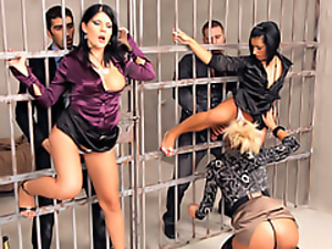 Cage, Chick, Clothed sex, Fucking, Group sex, Hardcore, Jail, Party, Pussy, Sexy, Slut