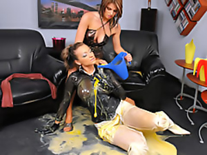 Clothed sex, Lesbian, Messy, Sexy, Wet