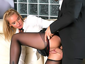 Black, Blondes, Chick, Clothed sex, Fucking, Hardcore, Pussy, Sexy, Skirt, Slut, Stockings, White