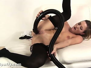 Fetish, Maid, Masturbating, Nylon, Sex toys