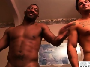 Gay, Interracial, Muscled, Shower, Workout
