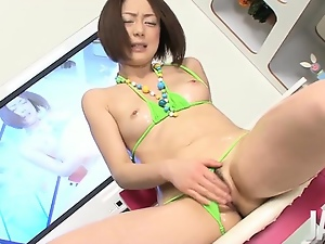 Amateur, Brunettes, Fingering, Hairy, Horny, Japanese, Masturbating, Model, Pussy, Sex toys, Shaved, Swimsuit