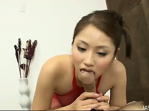 Amateur, Asian, Blowjob, Fishnet, Footjob, Stockings