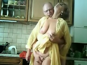 Amateur, Couple, German, Granny, Kitchen, Old