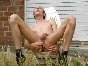 Garden, Gay, Masturbating, Sex toys