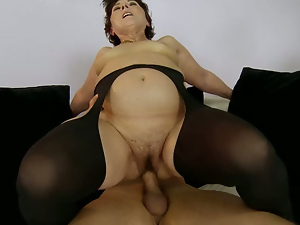Blowjob, Brunettes, Cowgirl, Granny, Hairy, Lady, Old and young, Riding, Screaming, Short hair, Stockings