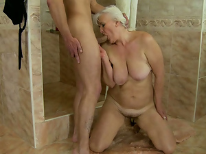 Big tits, Blowjob, Busty, Cougar, Granny, Hairy, Old and young