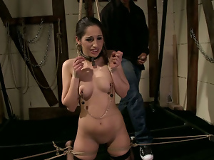 Bdsm, Black, Blowjob, Bondage, Brunettes, Groping, Interracial, Nipples, Stockings