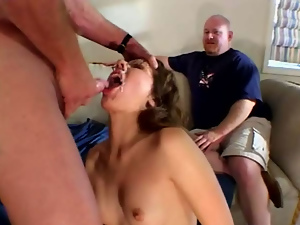 Anal, Brunettes, Cuckold, Cum, Cumshots, Double penetration, Face fucked, Facials, Glasses, Hardcore, Shaved, Small tits, Threesome