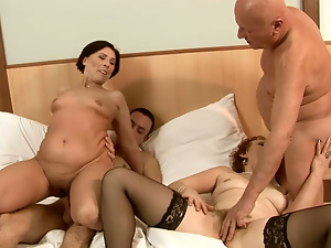 4some, Blowjob, Brunettes, Cowgirl, Granny, Redheads, Riding, Stockings, Swingers