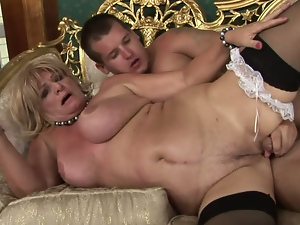 Blondes, Granny, Lady, Old and young, Riding, Rimjob, Stockings