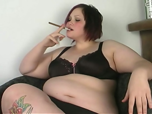 Bbw, Big butt, Cigarette, Cunt, Drunk, Fat, Fingering, Lingerie, Pussy, Short hair, Solo, Tattoo