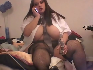 Bbw, Big butt, Big tits, Brunettes, Fat, Solo, Stockings, White