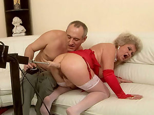 Fingering, Granny, Hairy, Machine sex, Pussy, Sex toys, Stockings