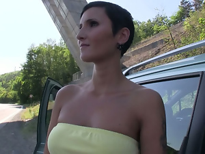 Big tits, Blowjob, Brunettes, Busty, Car, Flashing, Milf, Outdoor, Public, Reality, Short hair, Shorts, Thong