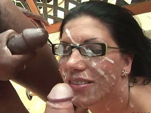 Big cock, Black, Blowbang, Brunettes, Bukkake, Cumshots, Facials, Gangbang, Glasses, Group sex, Outdoor, Small tits