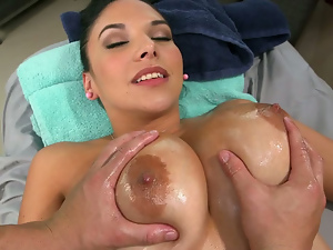 Big tits, Brunettes, Busty, Fingering, Hardcore, Massage, Milf, Oiled, Pussy, Shaved